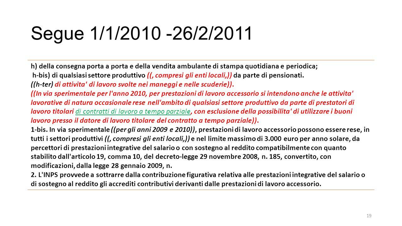 Segue 1/1/2010 -26/2/2011 h) della consegna porta a porta e della vendita ambulante di stampa quotidiana e periodica;
