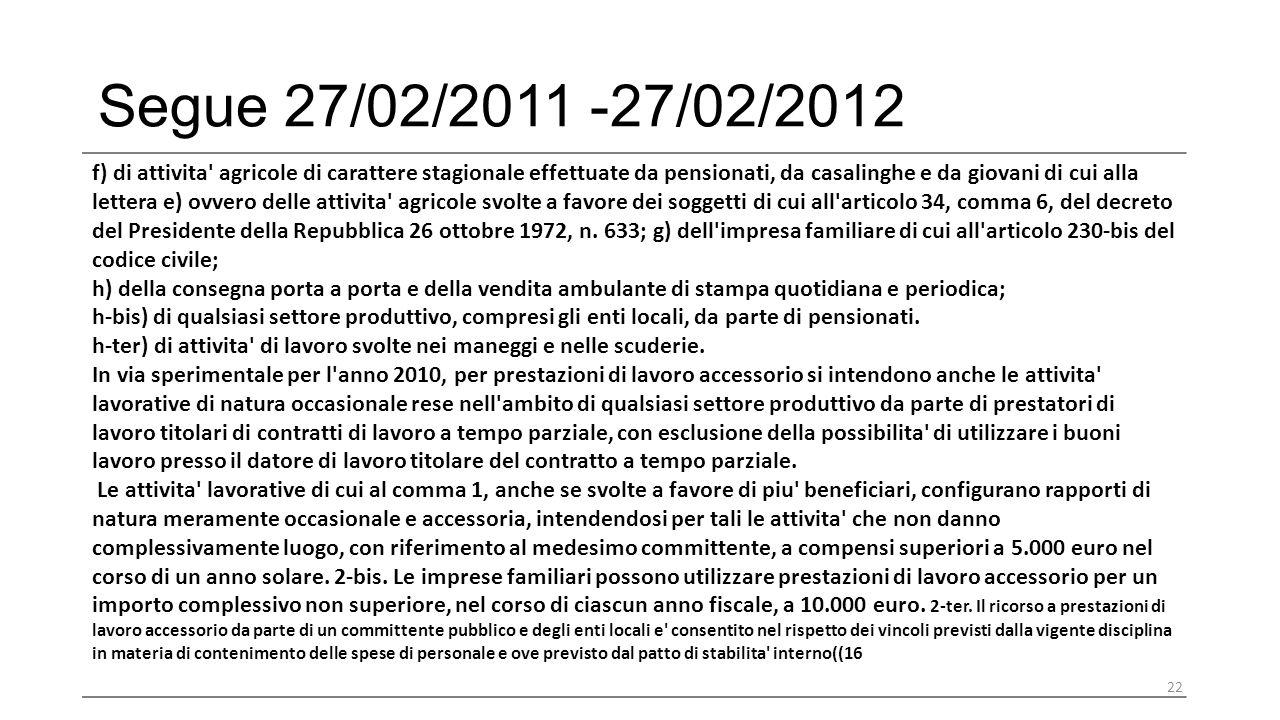 Segue 27/02/2011 -27/02/2012