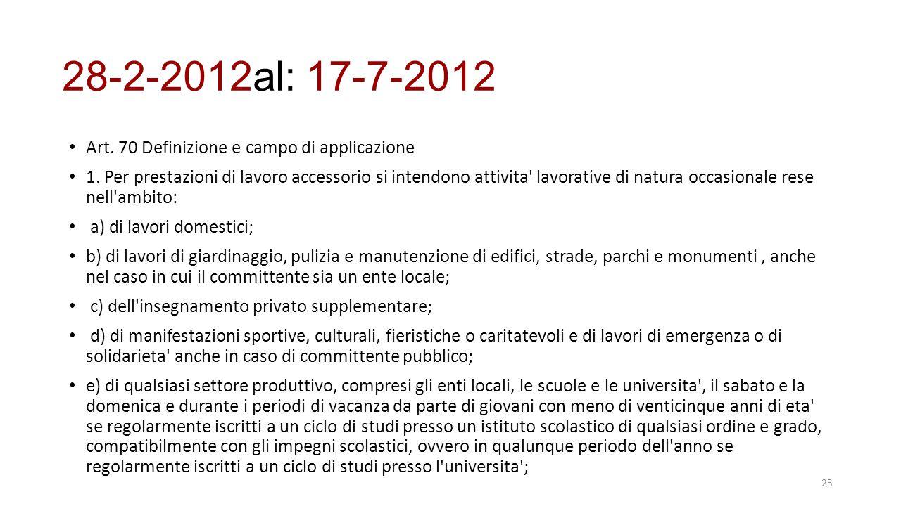 28-2-2012al: 17-7-2012 Art. 70 Definizione e campo di applicazione