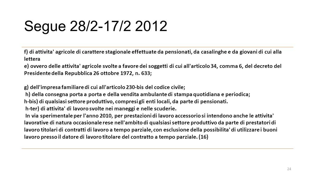 Segue 28/2-17/2 2012 f) di attivita agricole di carattere stagionale effettuate da pensionati, da casalinghe e da giovani di cui alla lettera.