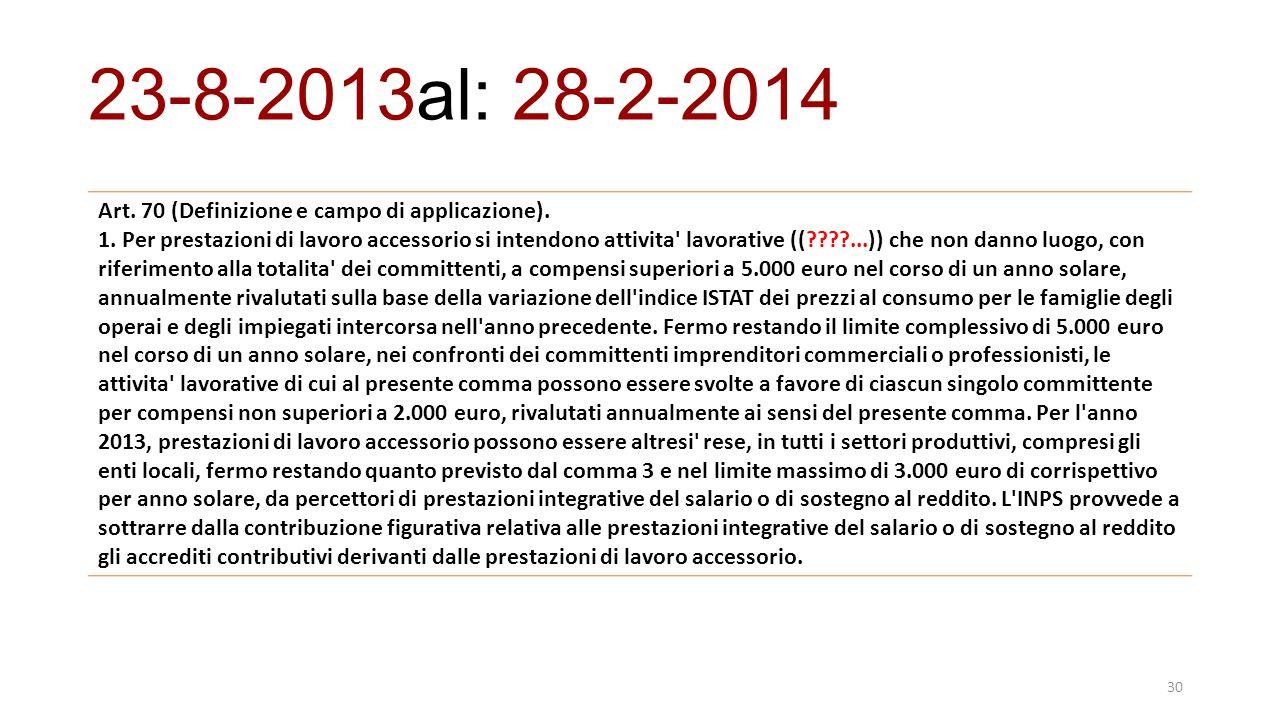 23-8-2013al: 28-2-2014 Art. 70 (Definizione e campo di applicazione).
