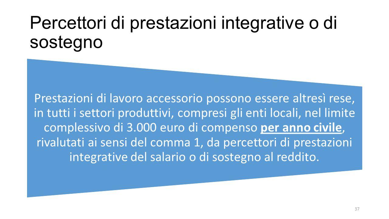 Percettori di prestazioni integrative o di sostegno