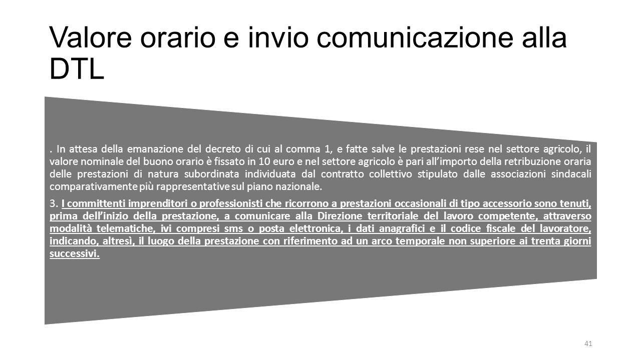 Valore orario e invio comunicazione alla DTL