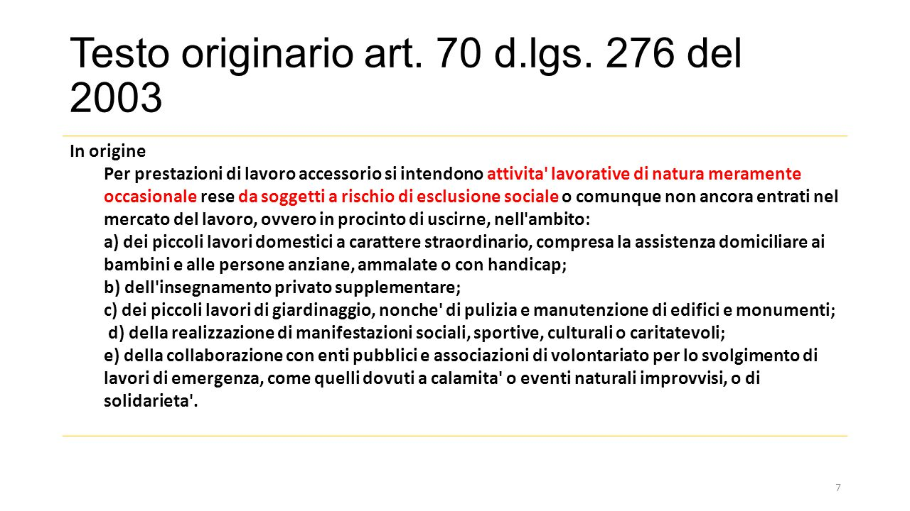 Testo originario art. 70 d.lgs. 276 del 2003