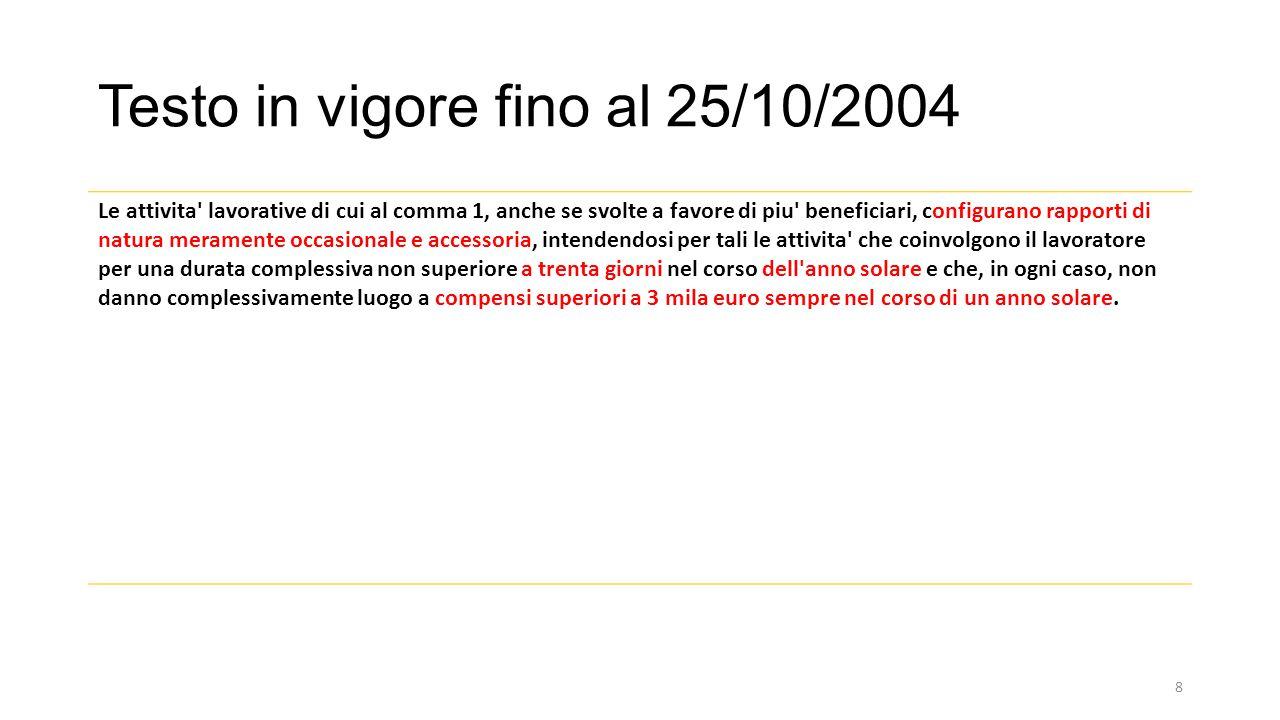 Testo in vigore fino al 25/10/2004