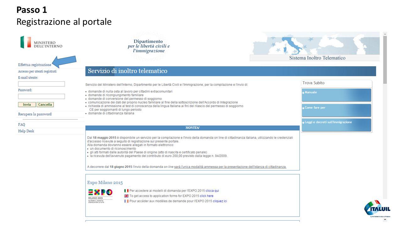 Passo 1 Registrazione al portale