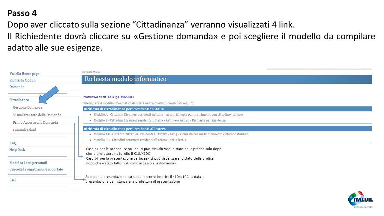 Passo 4 Dopo aver cliccato sulla sezione Cittadinanza verranno visualizzati 4 link.