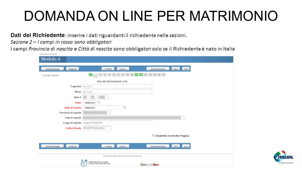 DOMANDA ON LINE PER MATRIMONIO