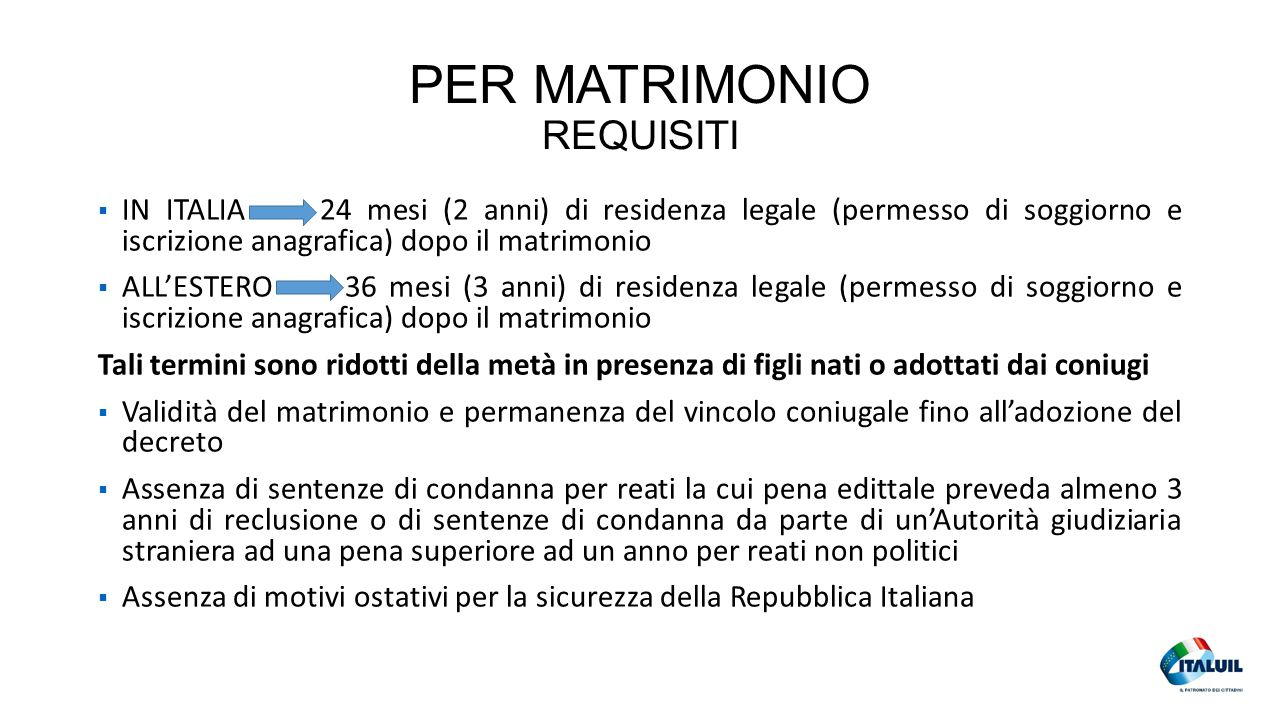 PER MATRIMONIO REQUISITI