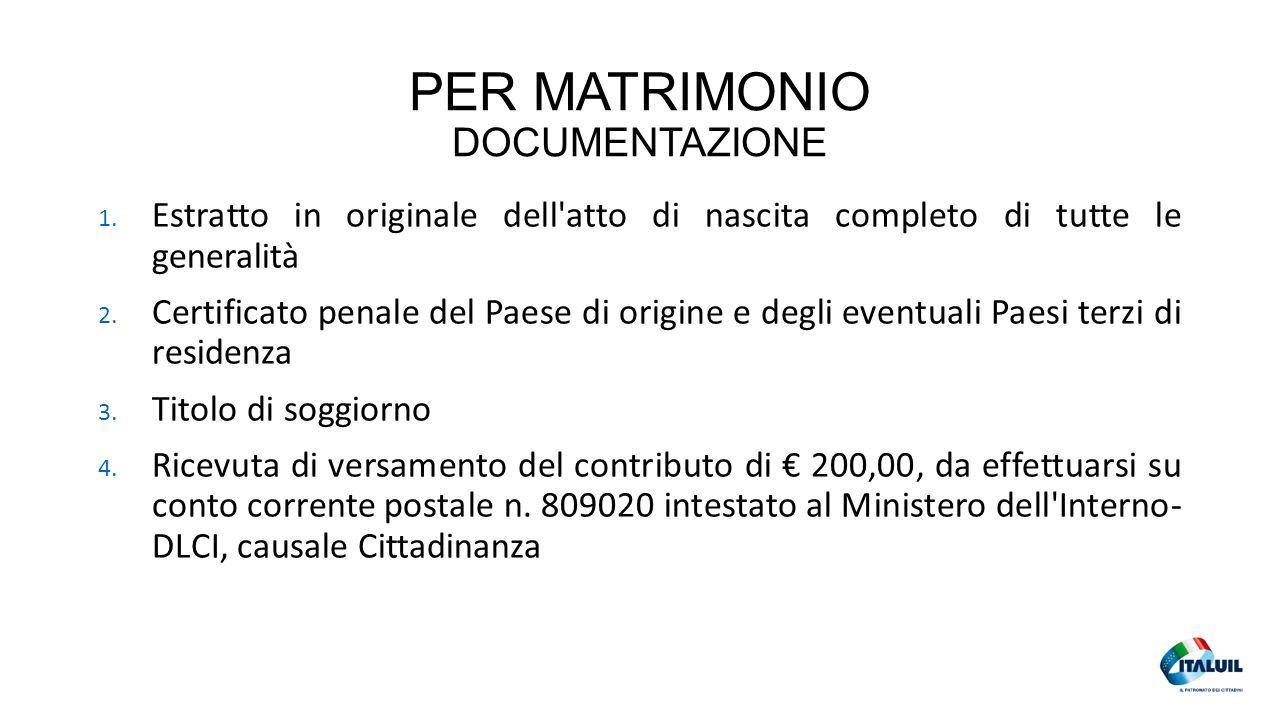 PER MATRIMONIO DOCUMENTAZIONE