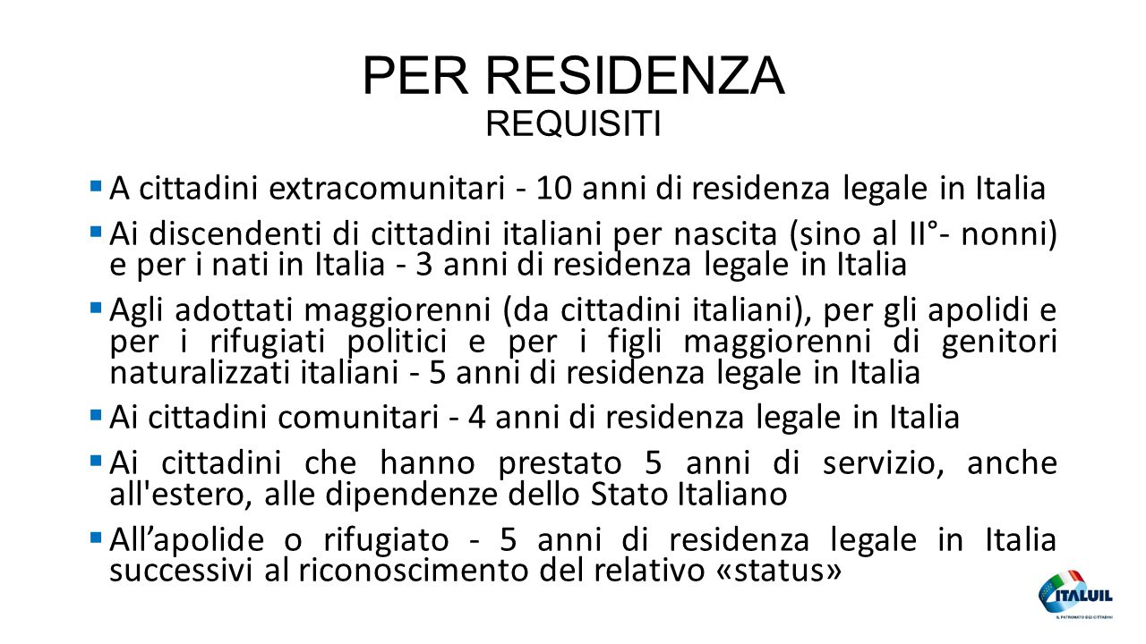 PER RESIDENZA REQUISITI