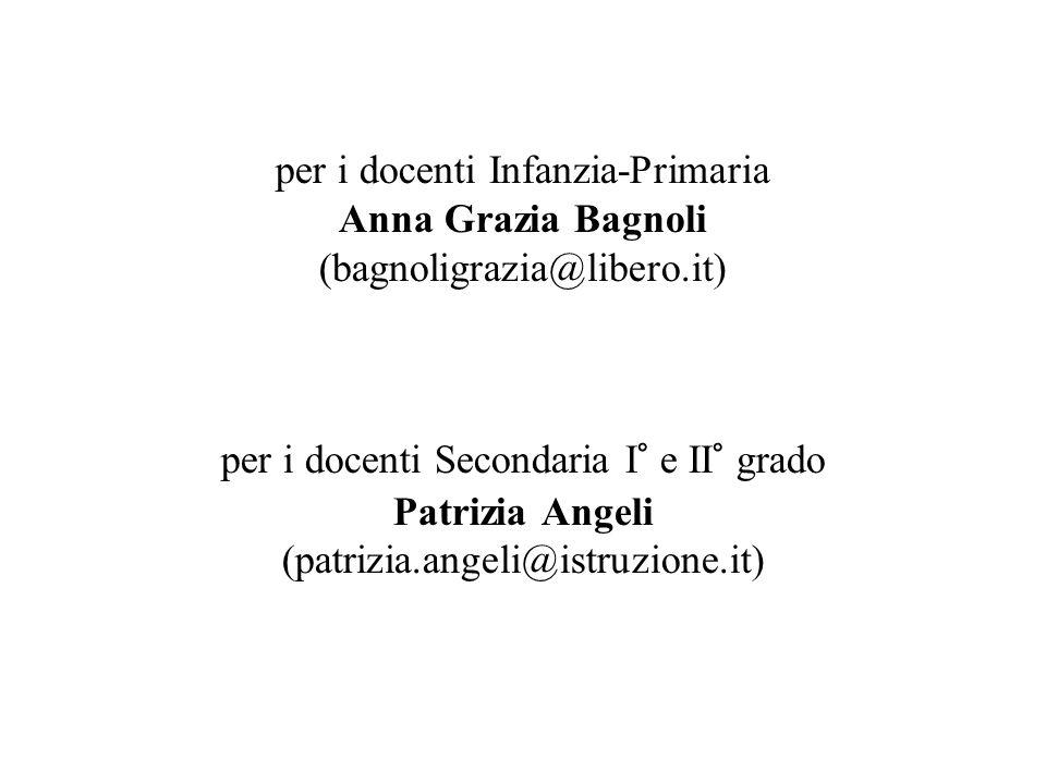 per i docenti Infanzia-Primaria Anna Grazia Bagnoli (bagnoligrazia@libero.it) per i docenti Secondaria I° e II° grado Patrizia Angeli (patrizia.angeli@istruzione.it)