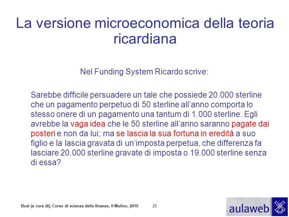 La versione microeconomica della teoria ricardiana