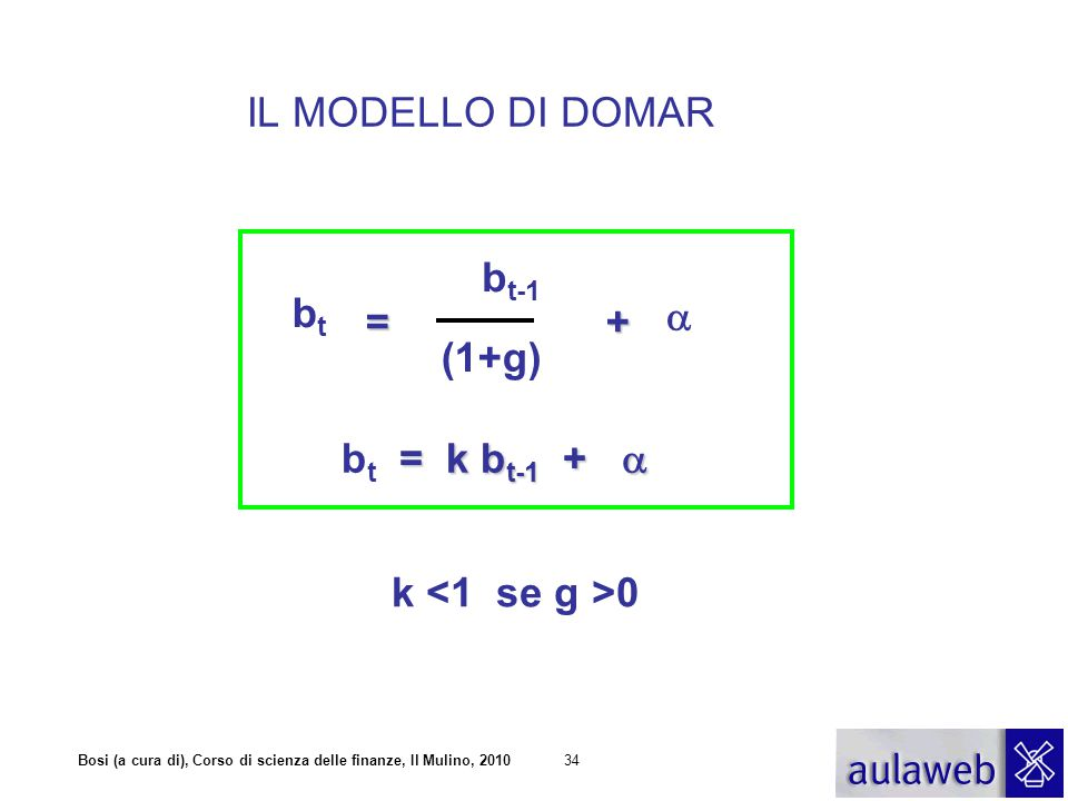 IL MODELLO DI DOMAR bt-1 bt = + a (1+g) bt = k bt-1 + a k <1 se g >0