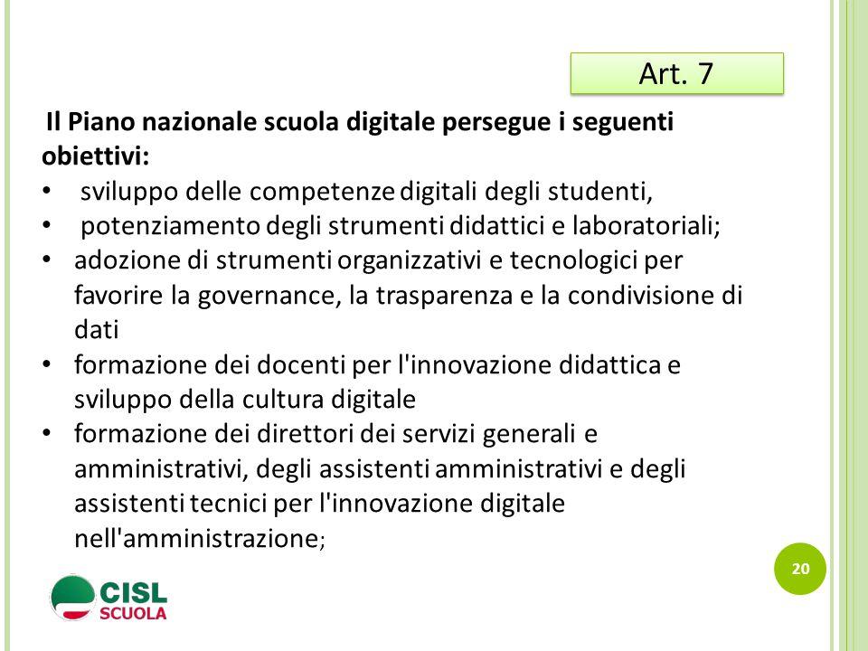 Art. 7 sviluppo delle competenze digitali degli studenti,