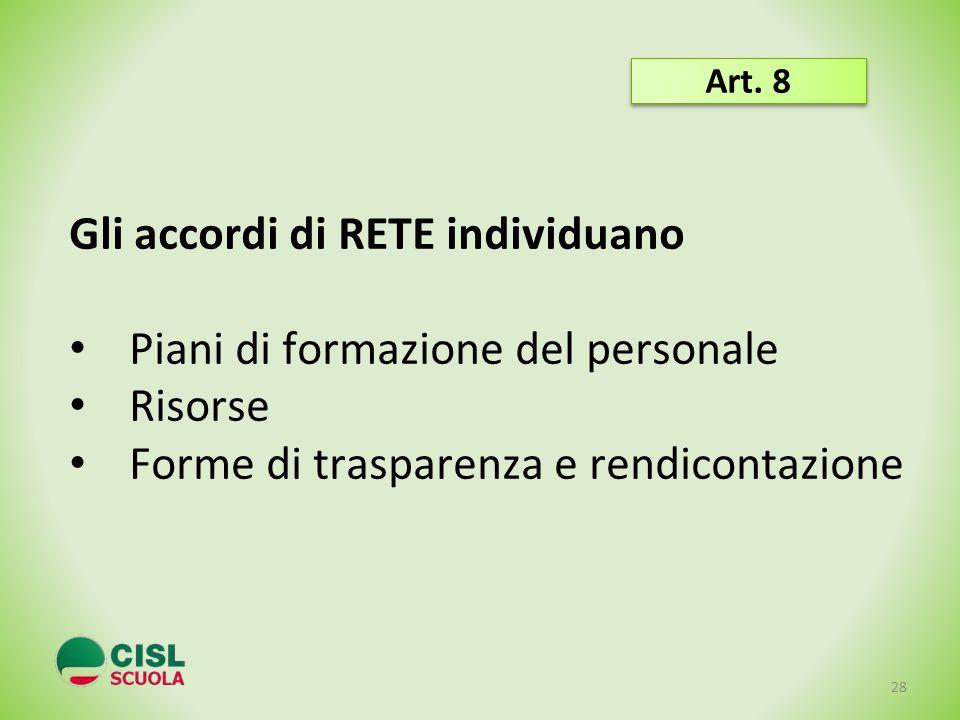 Gli accordi di RETE individuano Piani di formazione del personale