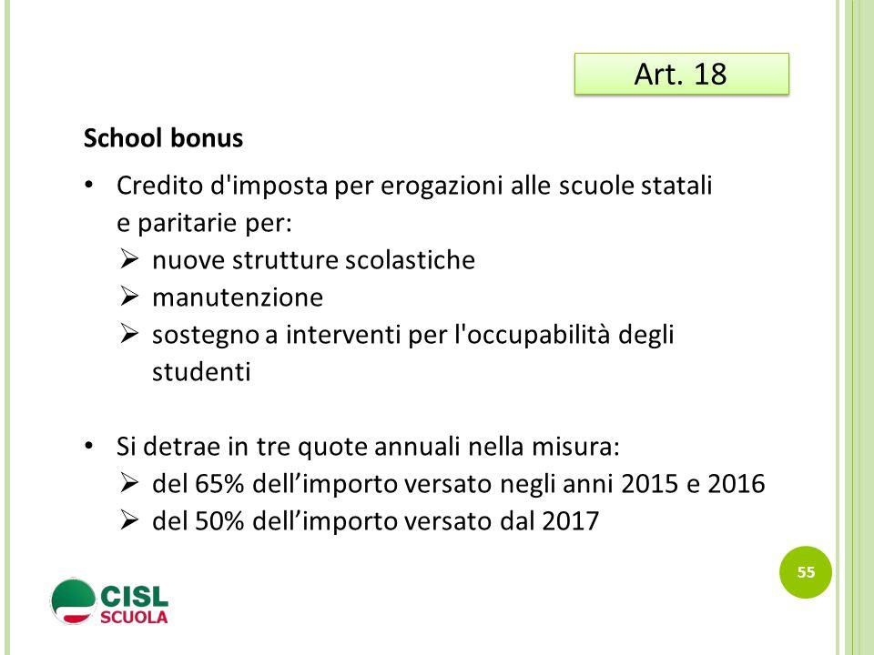 Art. 18 School bonus. Credito d imposta per erogazioni alle scuole statali e paritarie per: nuove strutture scolastiche.