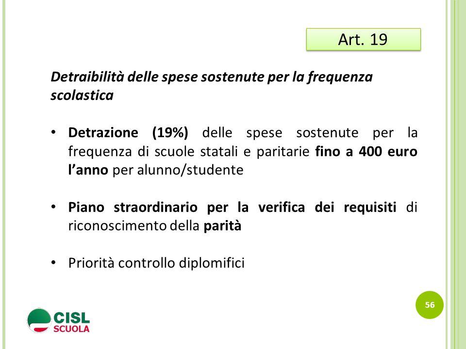 Art. 19 Detraibilità delle spese sostenute per la frequenza scolastica