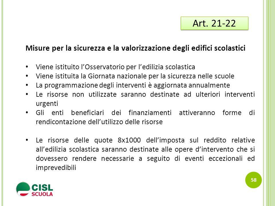 Art. 21-22 Misure per la sicurezza e la valorizzazione degli edifici scolastici. Viene istituito l'Osservatorio per l'edilizia scolastica.