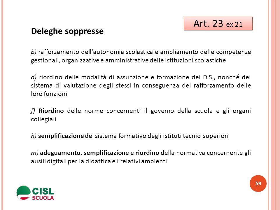 Art. 23 ex 21 Deleghe soppresse