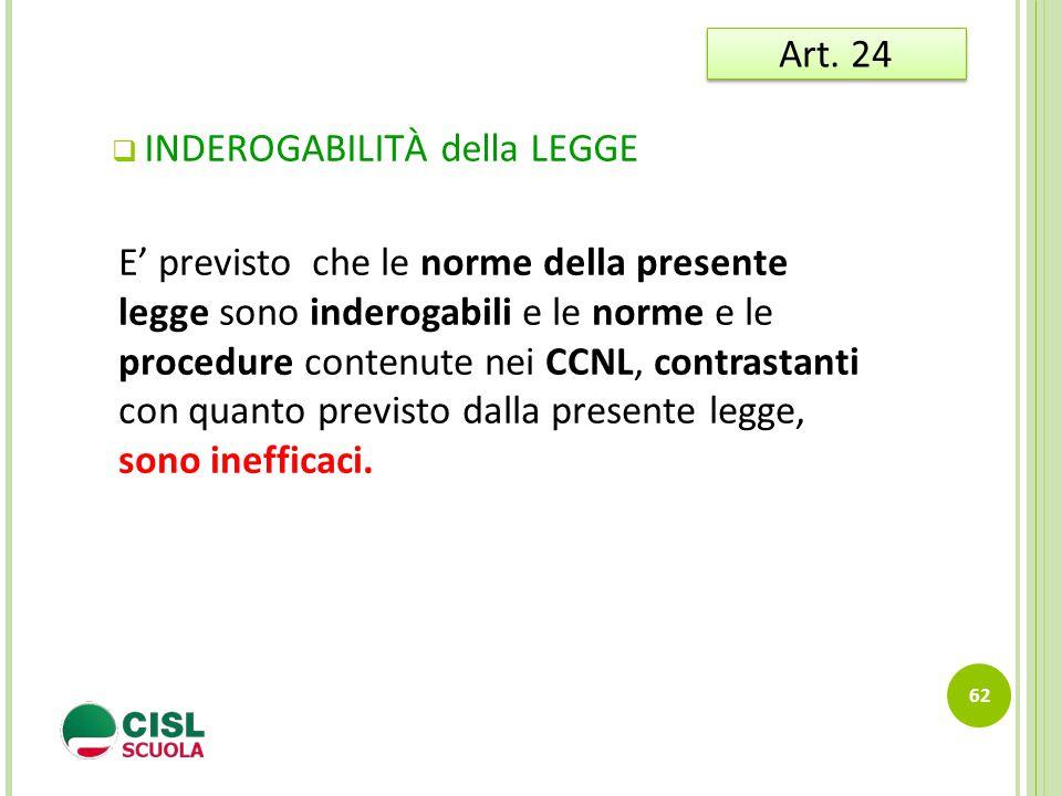 Art. 24 INDEROGABILITÀ della LEGGE.