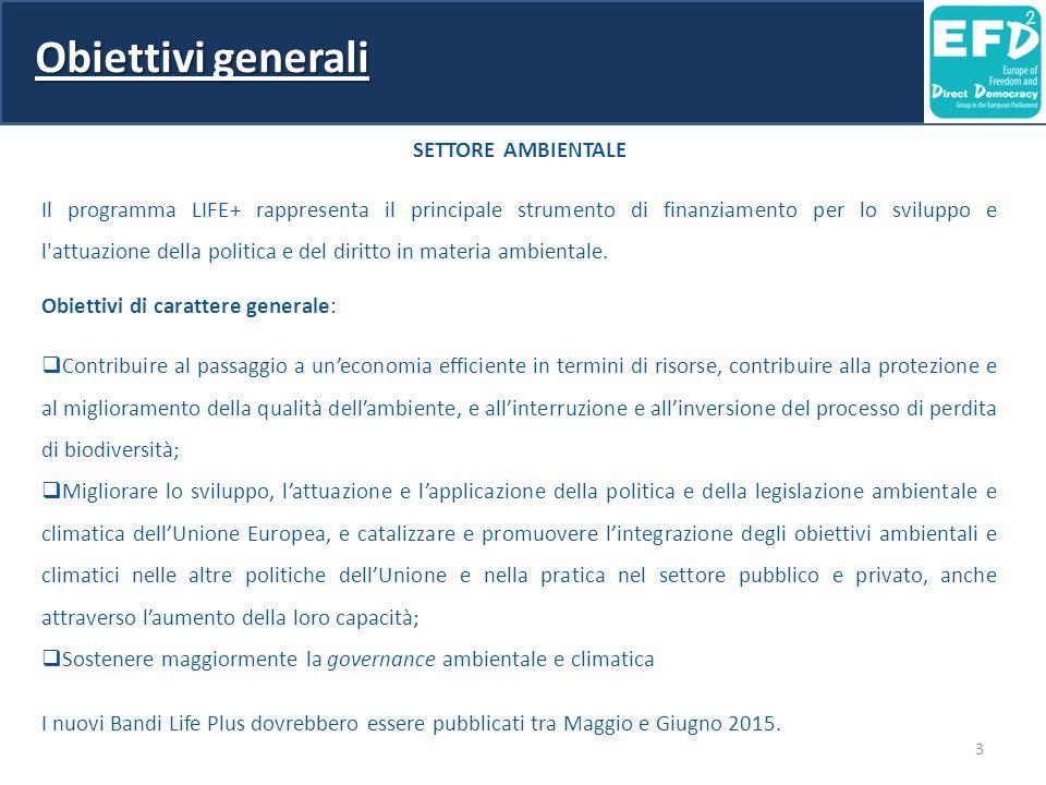 Obiettivi generali SETTORE AMBIENTALE