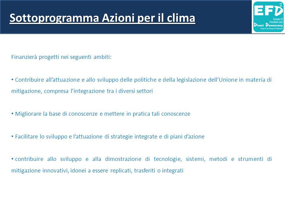 Sottoprogramma Azioni per il clima