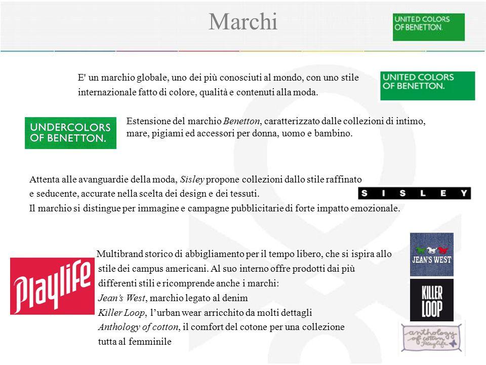 Marchi E un marchio globale, uno dei più conosciuti al mondo, con uno stile. internazionale fatto di colore, qualità e contenuti alla moda.