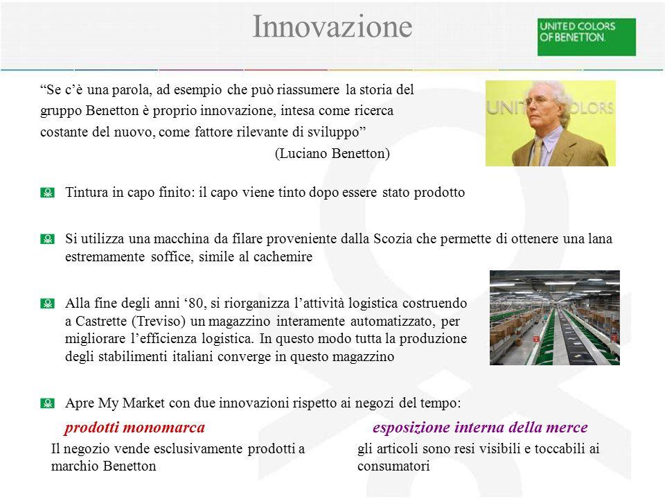 Innovazione Se c'è una parola, ad esempio che può riassumere la storia del. gruppo Benetton è proprio innovazione, intesa come ricerca.