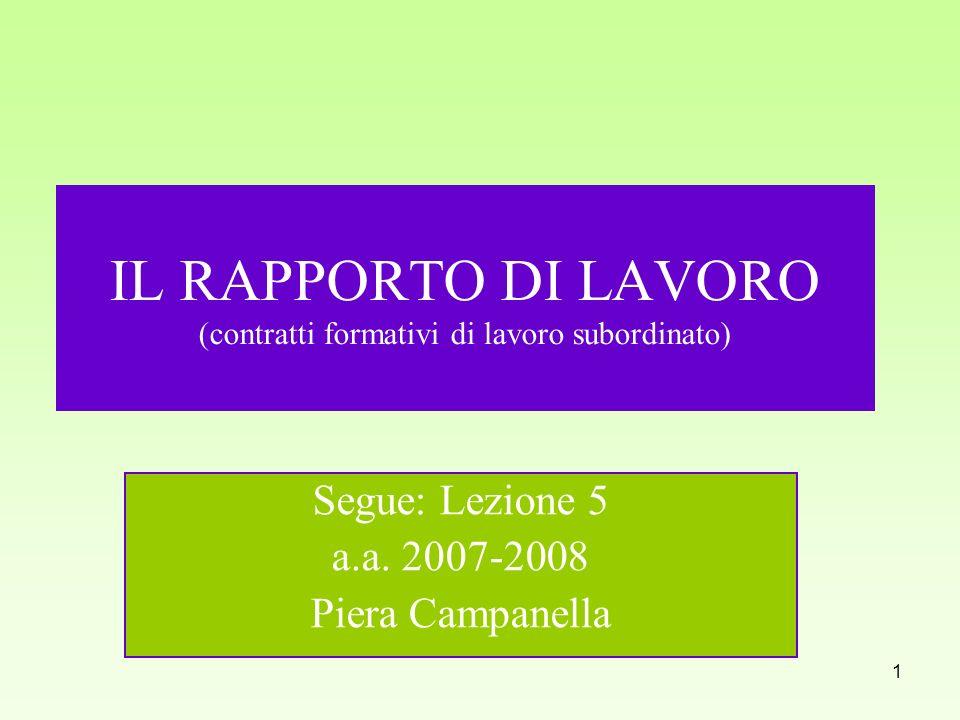 IL RAPPORTO DI LAVORO (contratti formativi di lavoro subordinato)