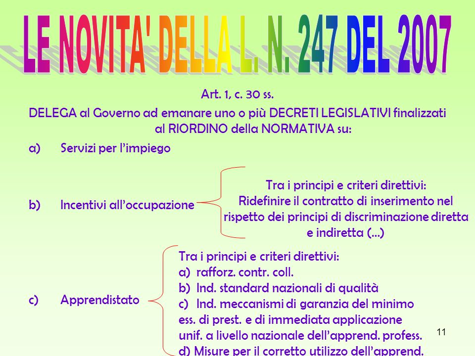 LE NOVITA DELLA L. N. 247 DEL 2007 Art. 1, c. 30 ss.