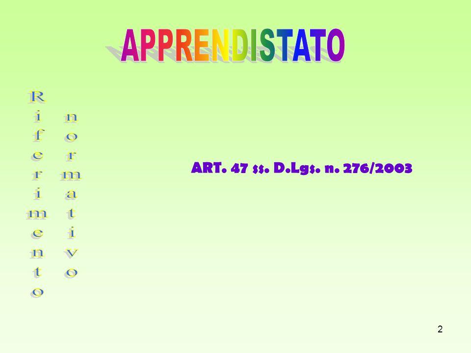APPRENDISTATO ART. 47 ss. D.Lgs. n. 276/2003 Riferimento normativo