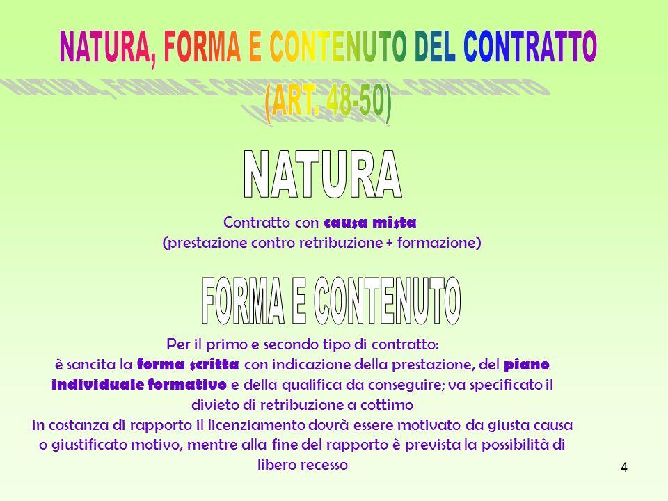 NATURA, FORMA E CONTENUTO DEL CONTRATTO (ART. 48-50)