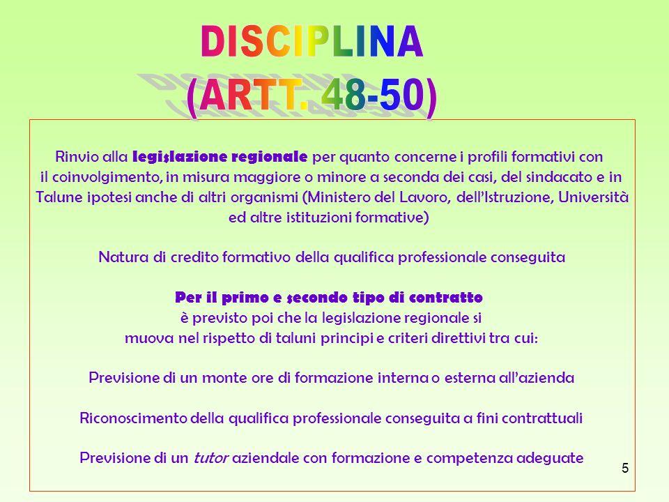 DISCIPLINA (ARTT. 48-50) Rinvio alla legislazione regionale per quanto concerne i profili formativi con.
