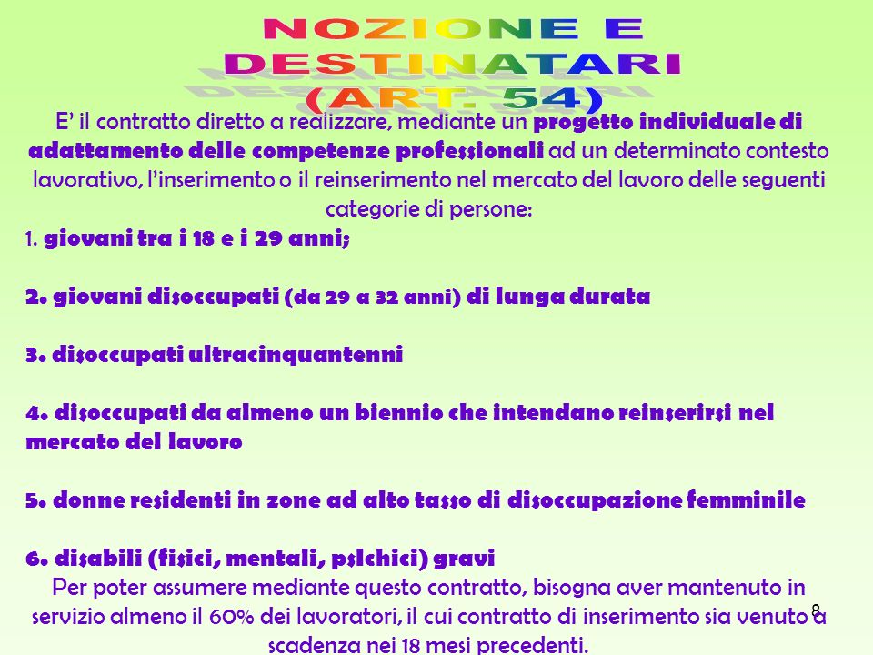 NOZIONE E DESTINATARI (ART. 54)