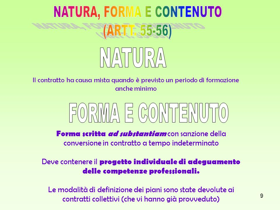 NATURA, FORMA E CONTENUTO (ARTT. 55-56)
