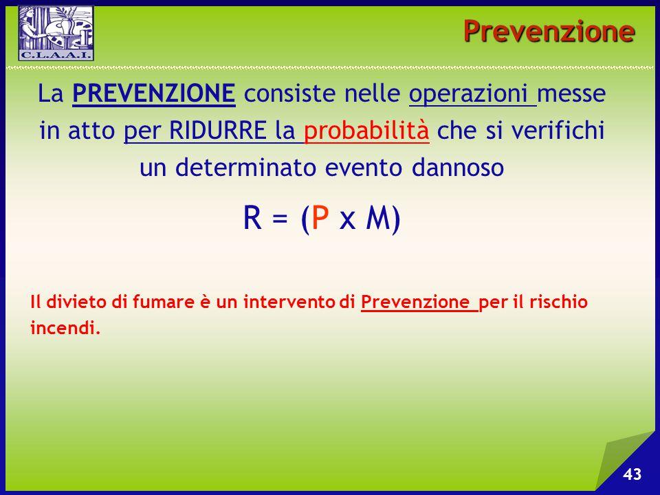 Prevenzione La PREVENZIONE consiste nelle operazioni messe in atto per RIDURRE la probabilità che si verifichi un determinato evento dannoso.