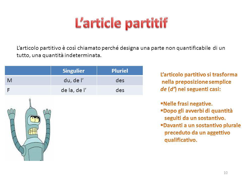 L'article partitif L'articolo partitivo è così chiamato perché designa una parte non quantificabile di un.