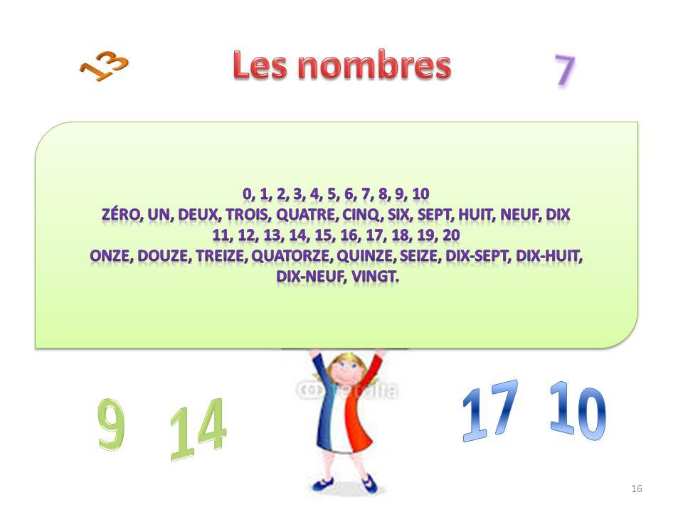 Les nombres 13. 7. 0, 1, 2, 3, 4, 5, 6, 7, 8, 9, 10. ZÉro, un, deux, trois, quatre, cinq, six, sept, huit, neuf, dix.