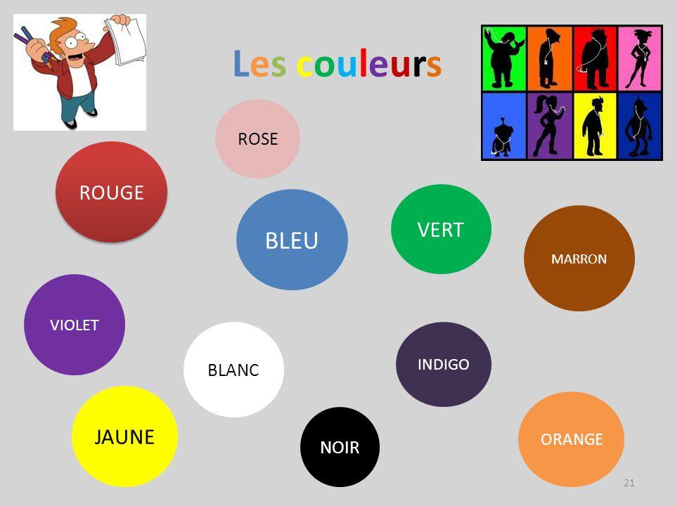 Les couleurs BLEU VERT JAUNE ROUGE ROSE BLANC NOIR VIOLET INDIGO