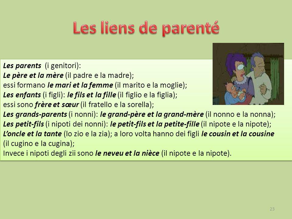 Les liens de parenté Les parents (i genitori):