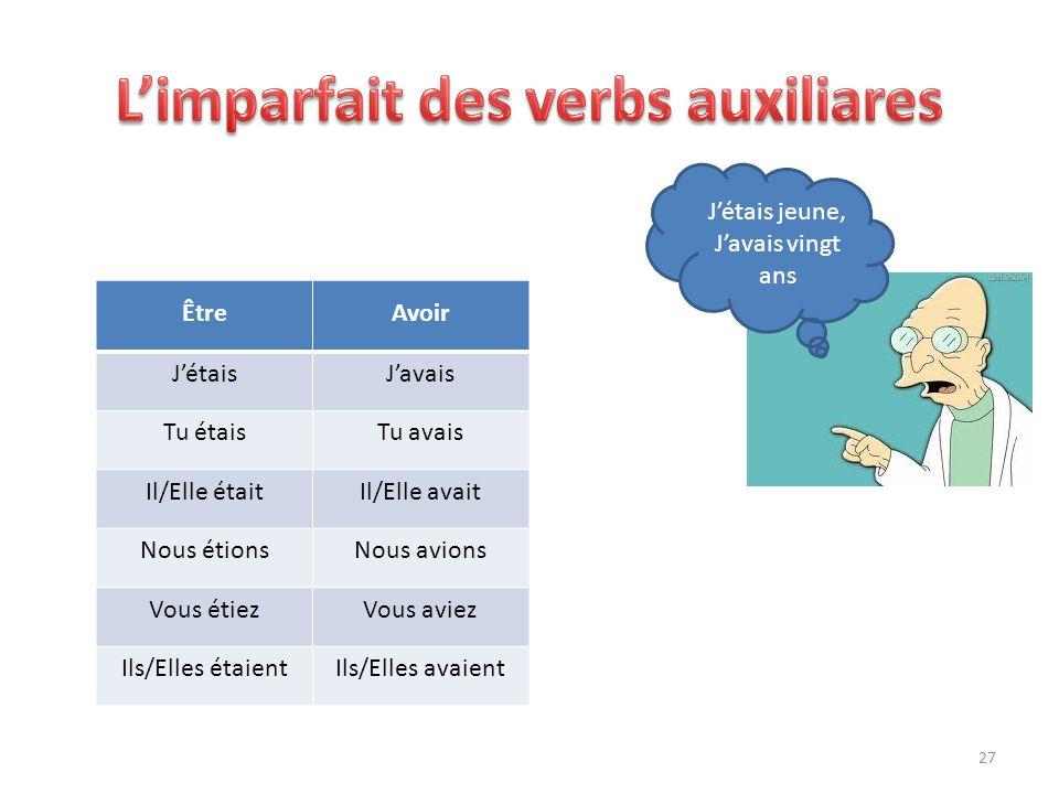 L'imparfait des verbs auxiliares