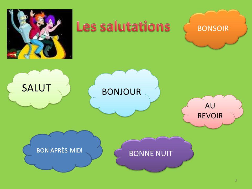 Les salutations SALUT BONJOUR BONSOIR AU REVOIR BONNE NUIT