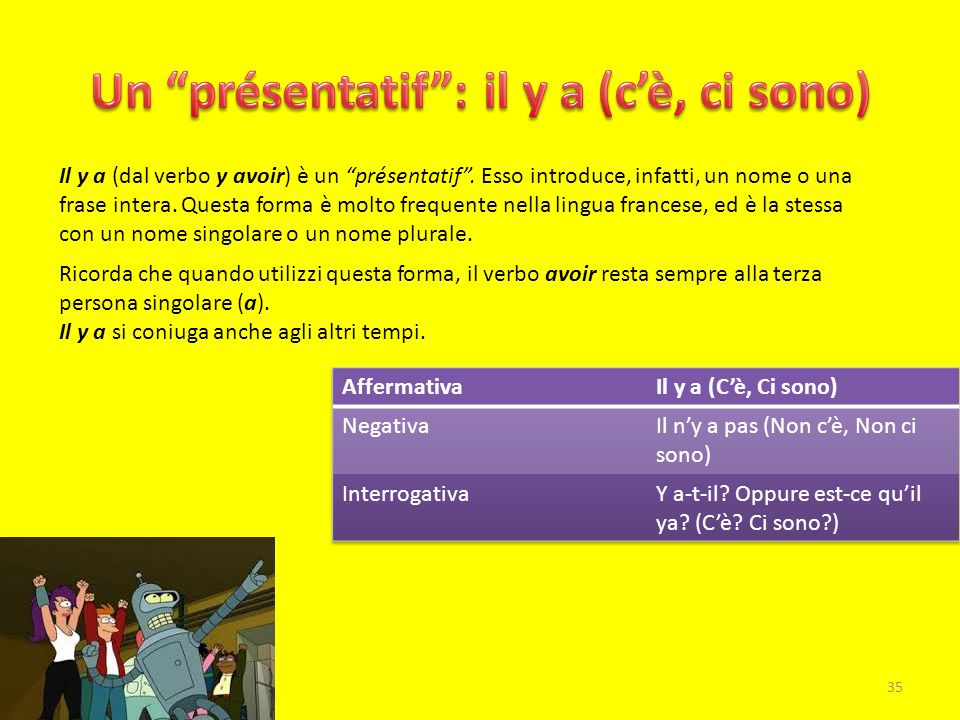 Un présentatif : il y a (c'è, ci sono)