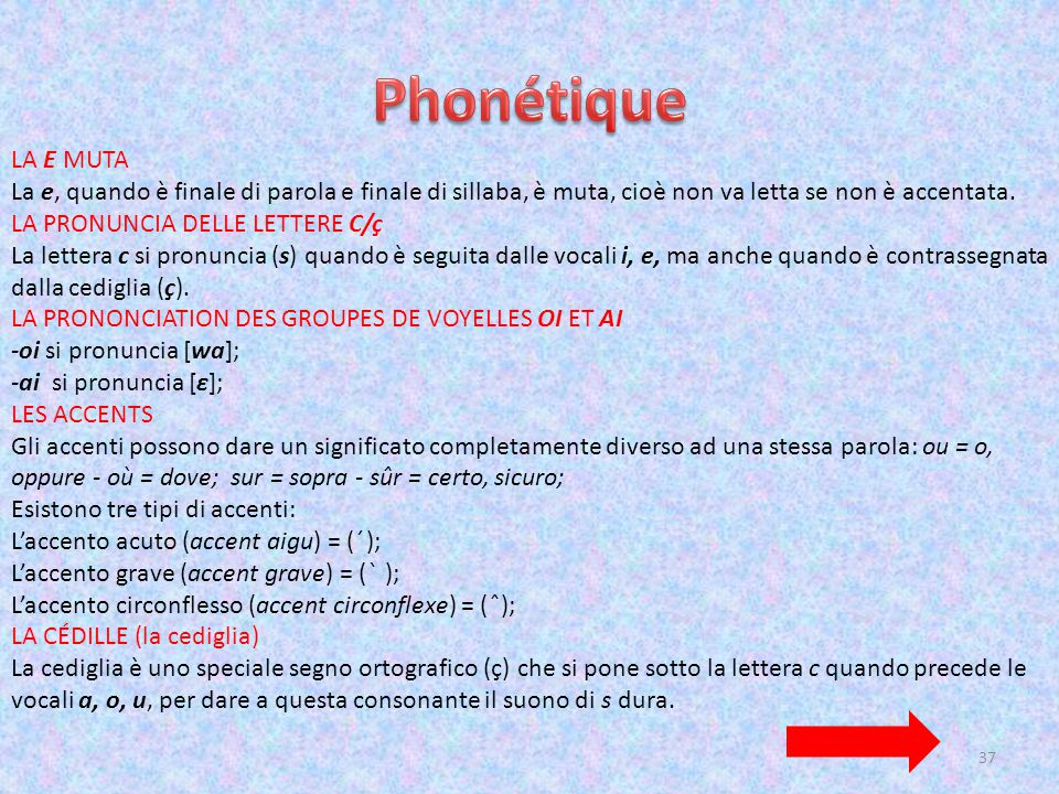 Phonétique LA E MUTA. La e, quando è finale di parola e finale di sillaba, è muta, cioè non va letta se non è accentata.