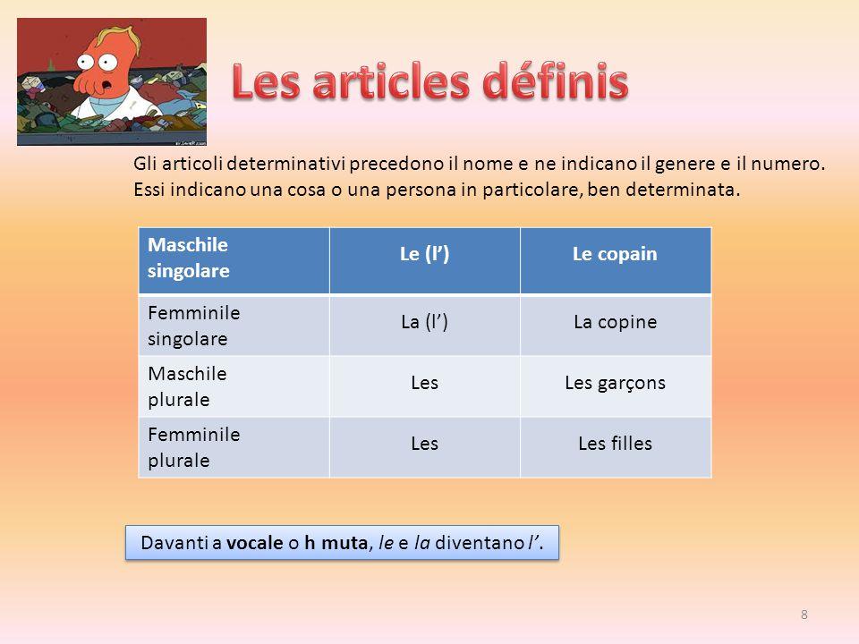 Les articles définis Gli articoli determinativi precedono il nome e ne indicano il genere e il numero.