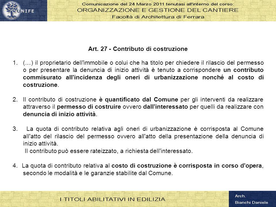 Art. 27 - Contributo di costruzione