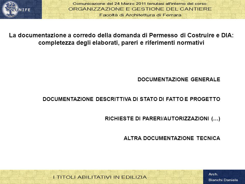 completezza degli elaborati, pareri e riferimenti normativi