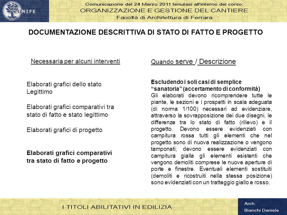 DOCUMENTAZIONE DESCRITTIVA DI STATO DI FATTO E PROGETTO