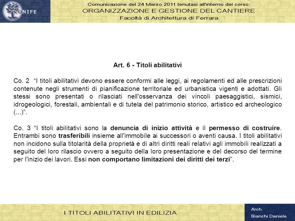 Art. 6 - Titoli abilitativi